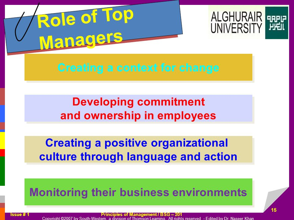 Role of Top Managers Creating a context for change