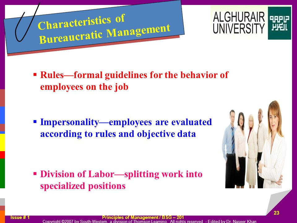 Characteristics of Bureaucratic Management