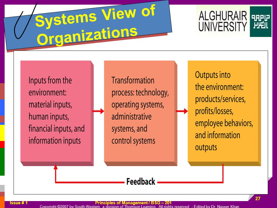 Systems View of Organizations