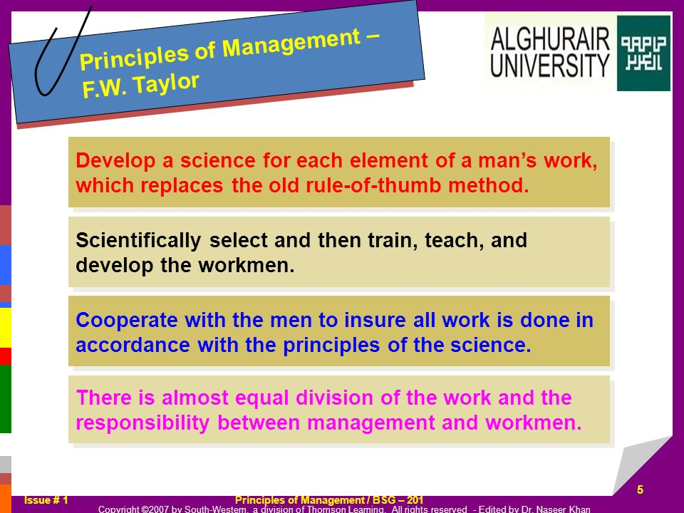 Principles of Management – F.W. Taylor