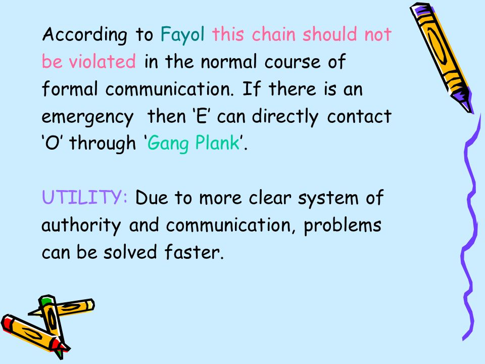 According to Fayol this chain should not