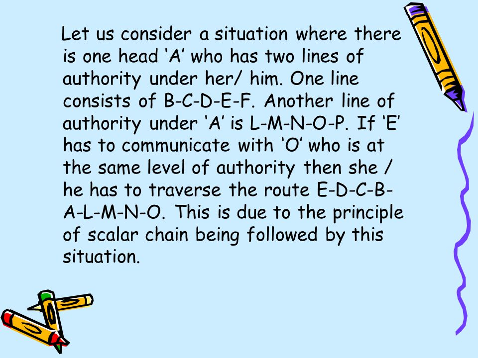 Let us consider a situation where there is one head 'A' who has two lines of authority under her/ him.