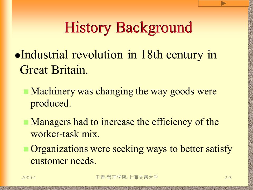 History Background Industrial revolution in 18th century in Great Britain. Machinery was changing the way goods were produced.