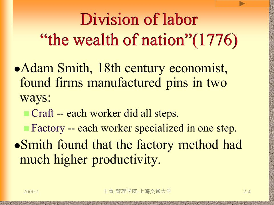 Division of labor the wealth of nation (1776)