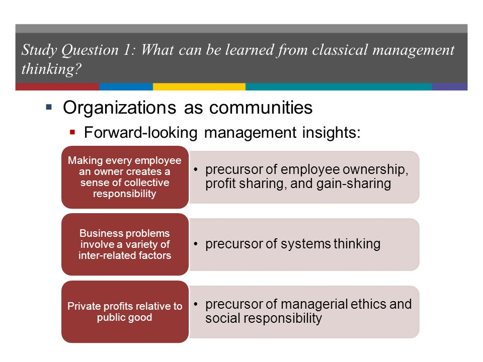 what can be learned from classical management thinking? essay What can be learned from classical management thinking ans: the classical management approaches encompass scientific management, administrative principles, and bureaucratic organization.