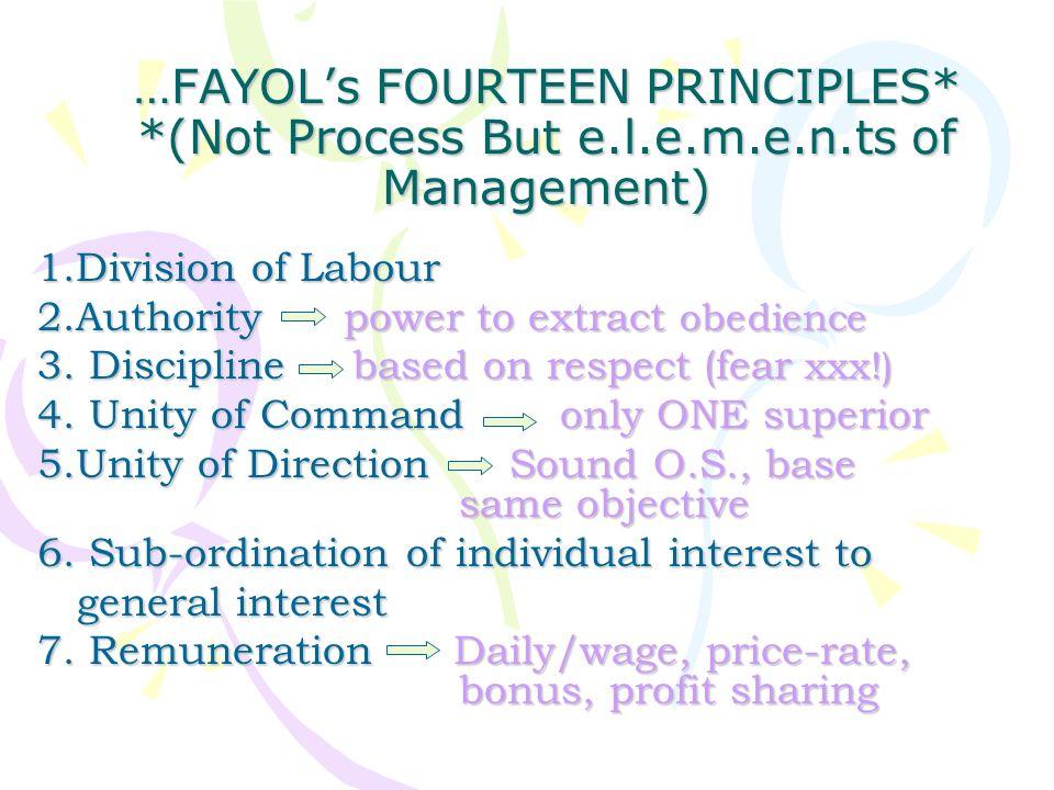 …FAYOL's FOURTEEN PRINCIPLES. (Not Process But e. l. e. m. e. n