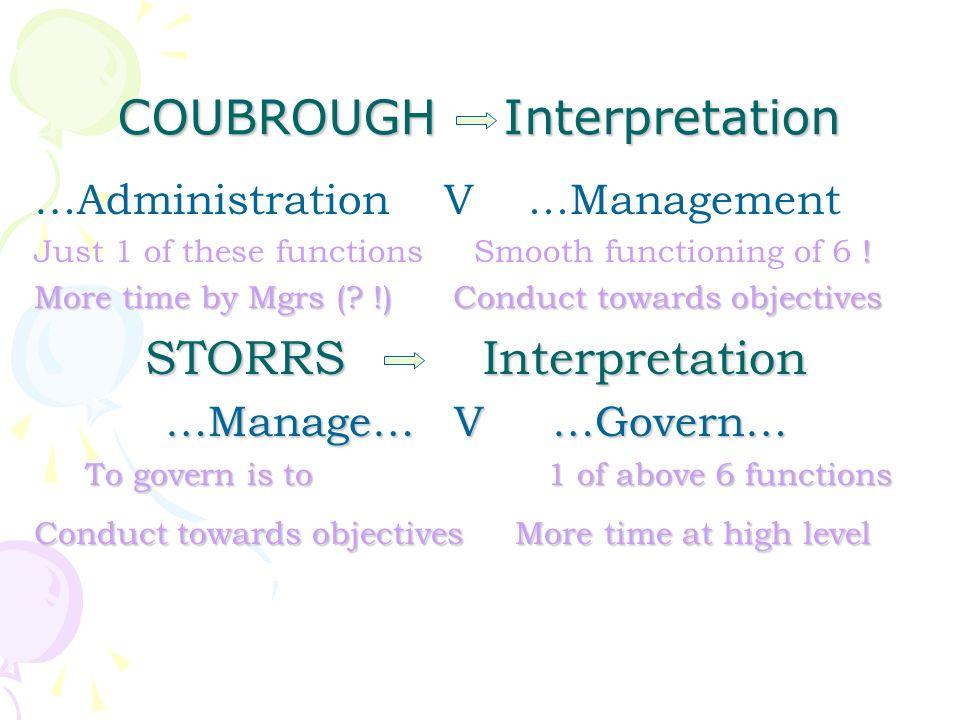 COUBROUGH Interpretation