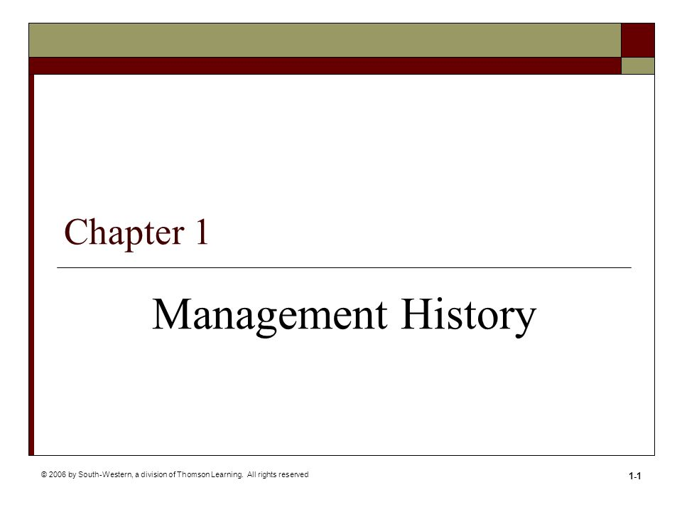 Management History Chapter 1