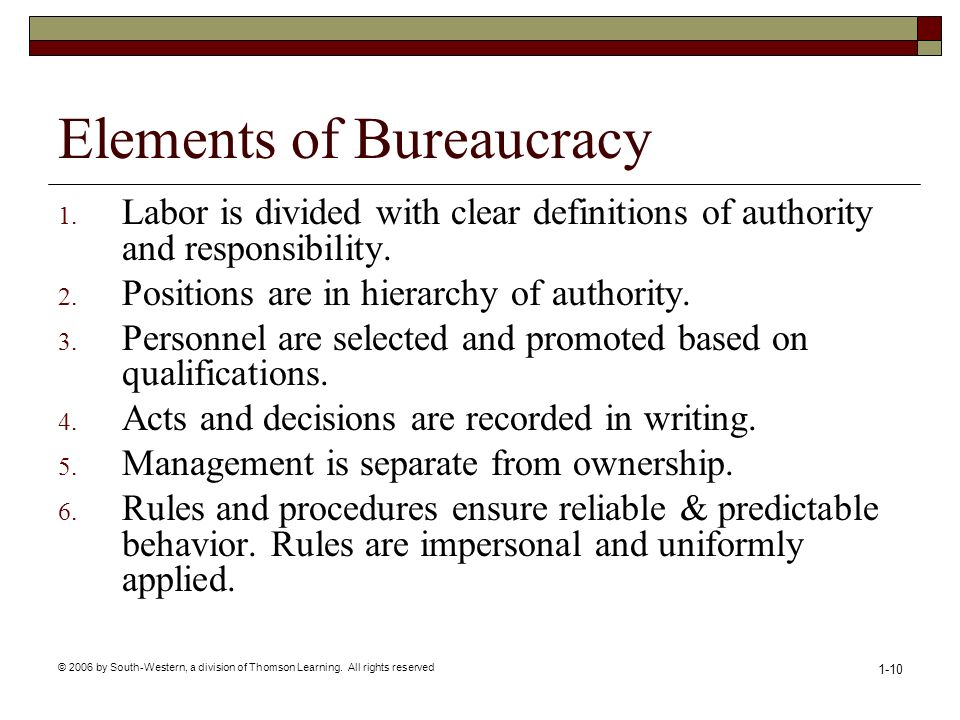 Elements of Bureaucracy