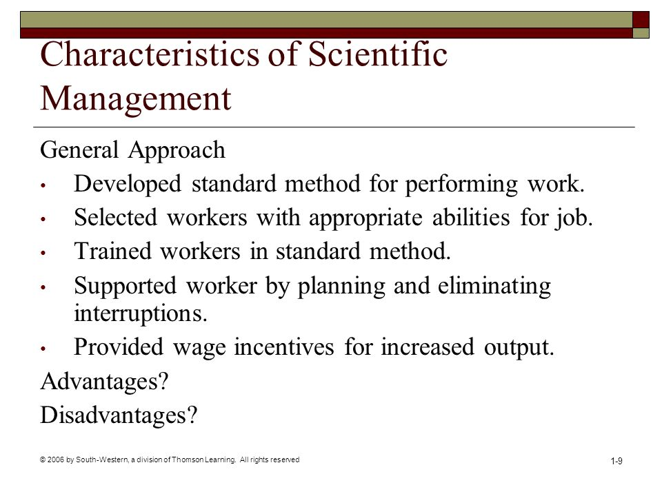 Characteristics of Scientific Management