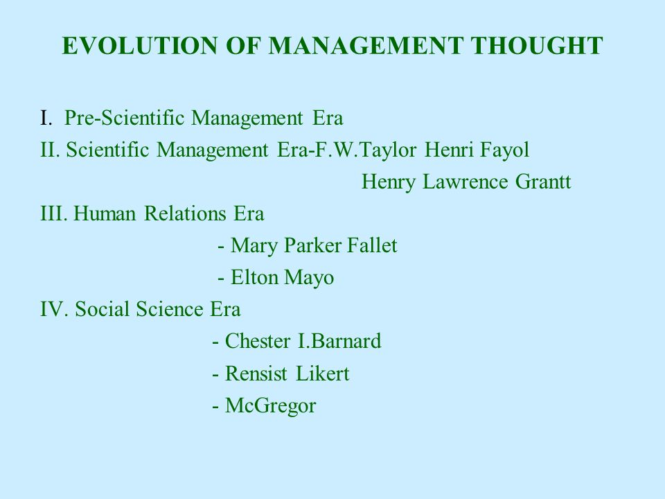 history of management thought elton Classification of management thoughts in five schools of management theory with the beginning of this century, the discipline (subject) of management has assumed greater significance.