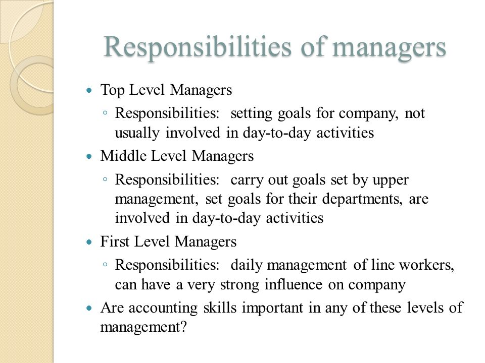 Responsibilities of managers