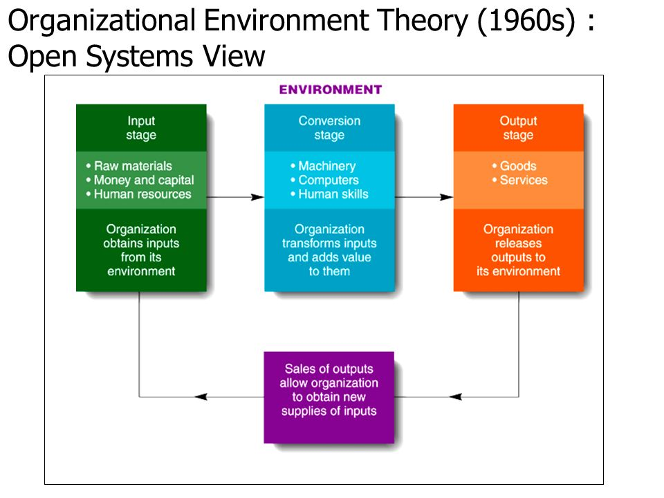Organizational Environment Theory (1960s) : Open Systems View