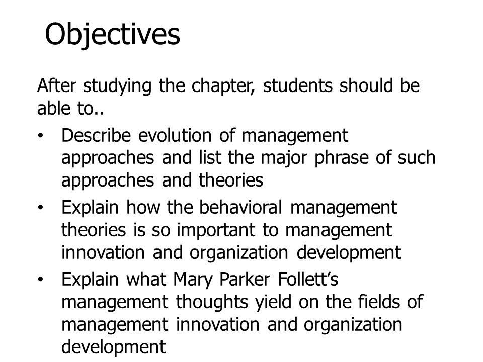 Objectives After studying the chapter, students should be able to..