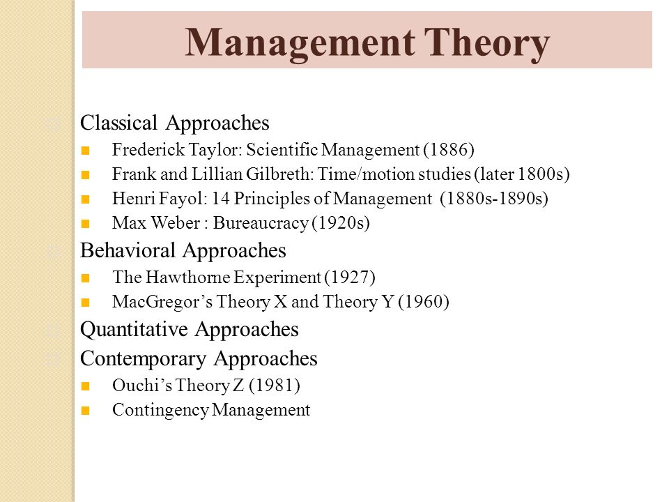 Management Theory Classical Approaches Behavioral Approaches