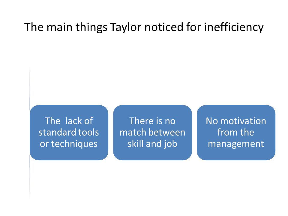The main things Taylor noticed for inefficiency