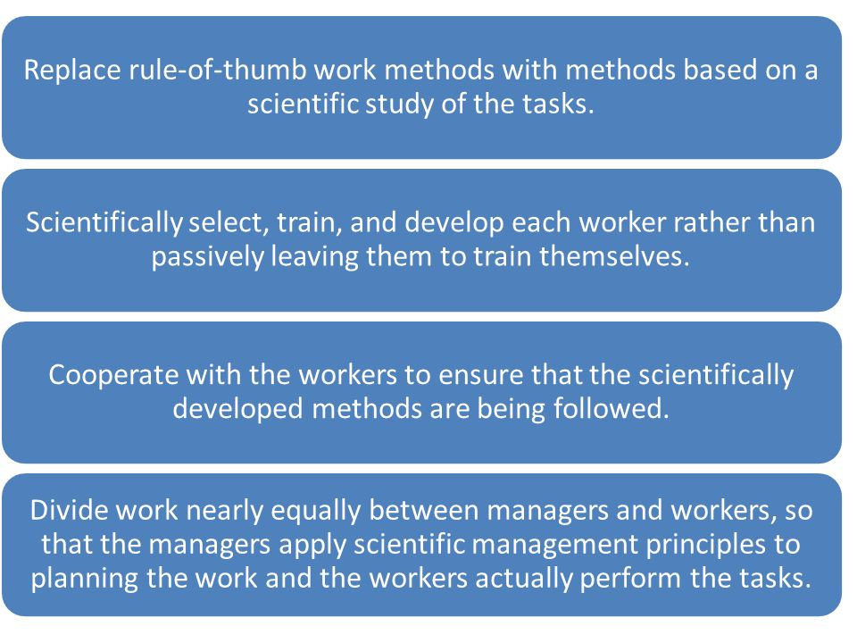 Replace rule-of-thumb work methods with methods based on a scientific study of the tasks.
