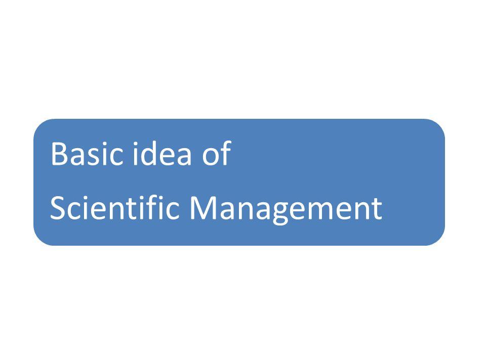 Basic idea of Scientific Management