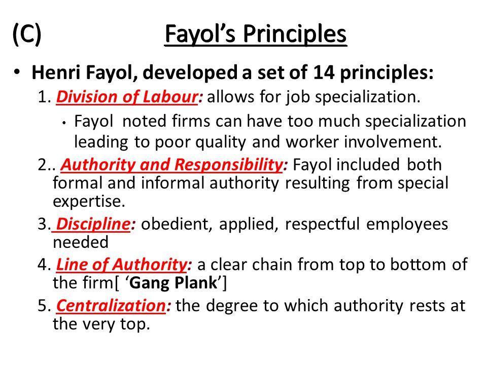 (C) Fayol's Principles