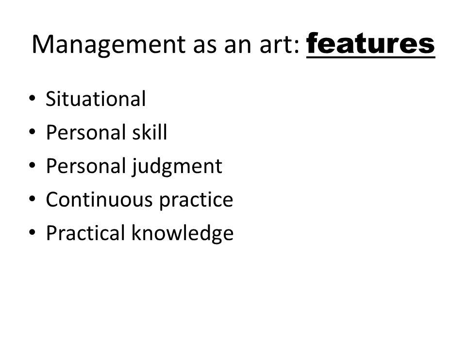 Management as an art: features