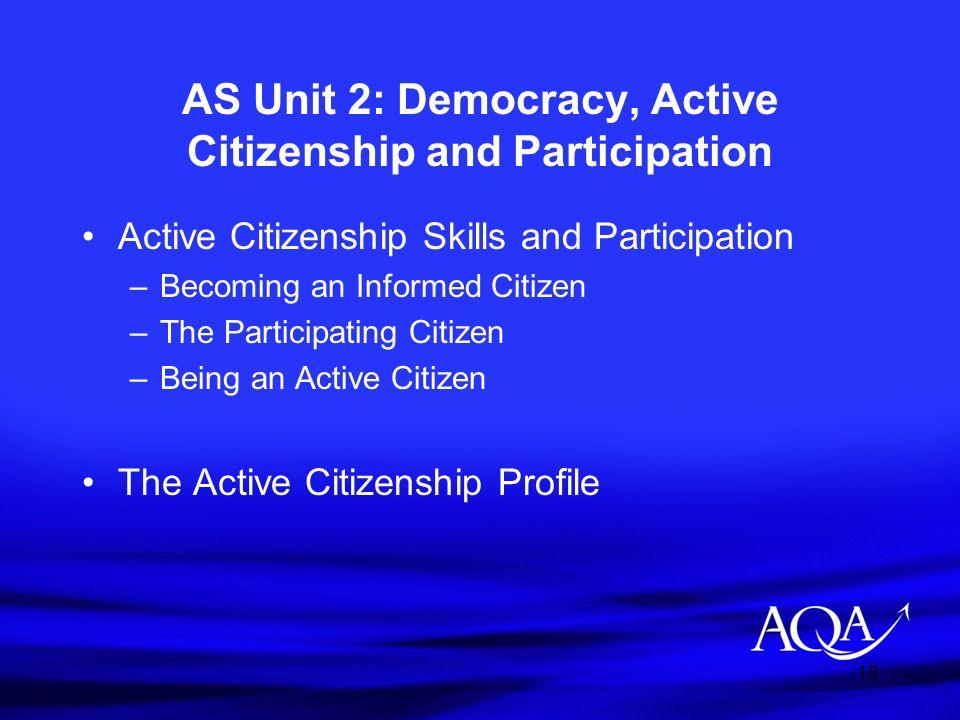 AS Unit 2: Democracy, Active Citizenship and Participation