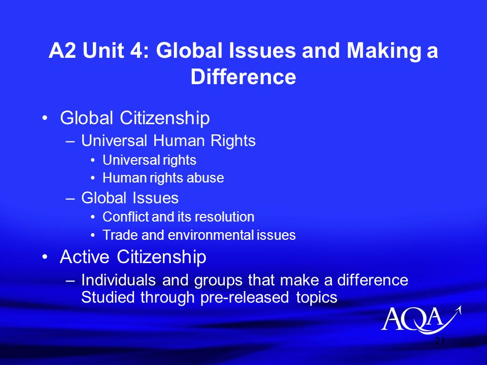 A2 Unit 4: Global Issues and Making a Difference