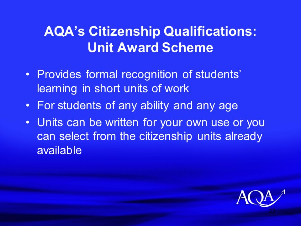 AQA's Citizenship Qualifications: Unit Award Scheme