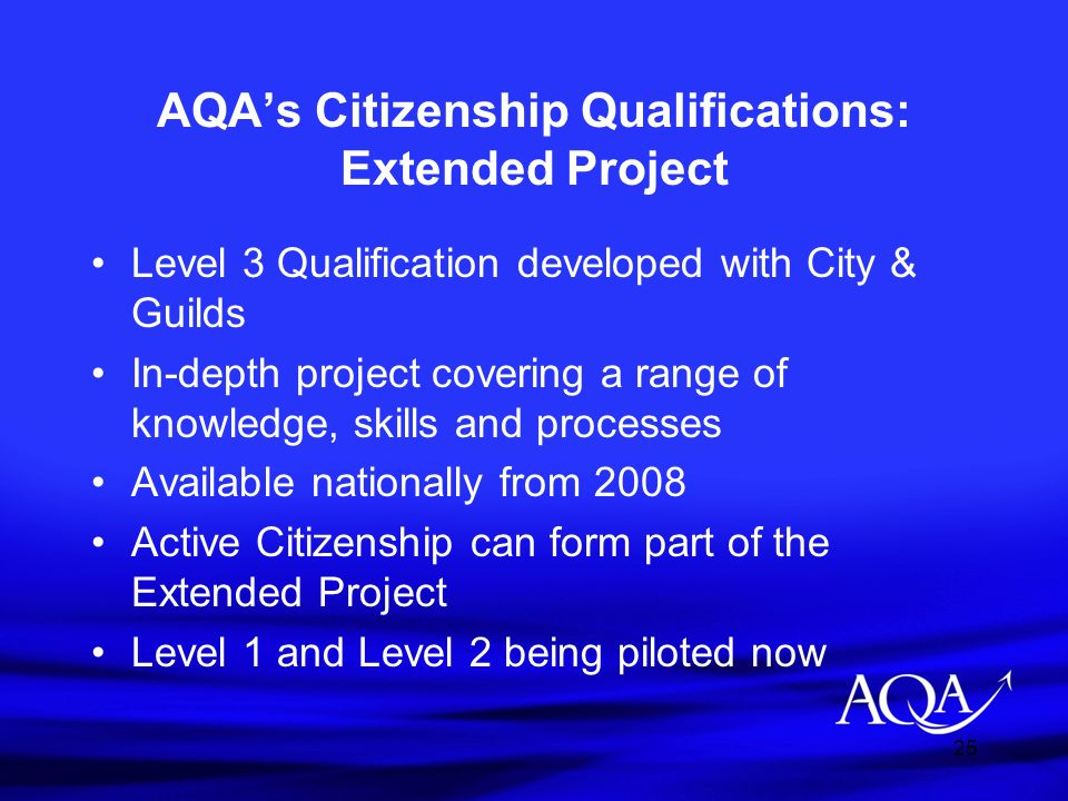 AQA's Citizenship Qualifications: Extended Project