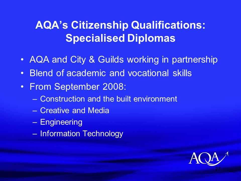 AQA's Citizenship Qualifications: Specialised Diplomas