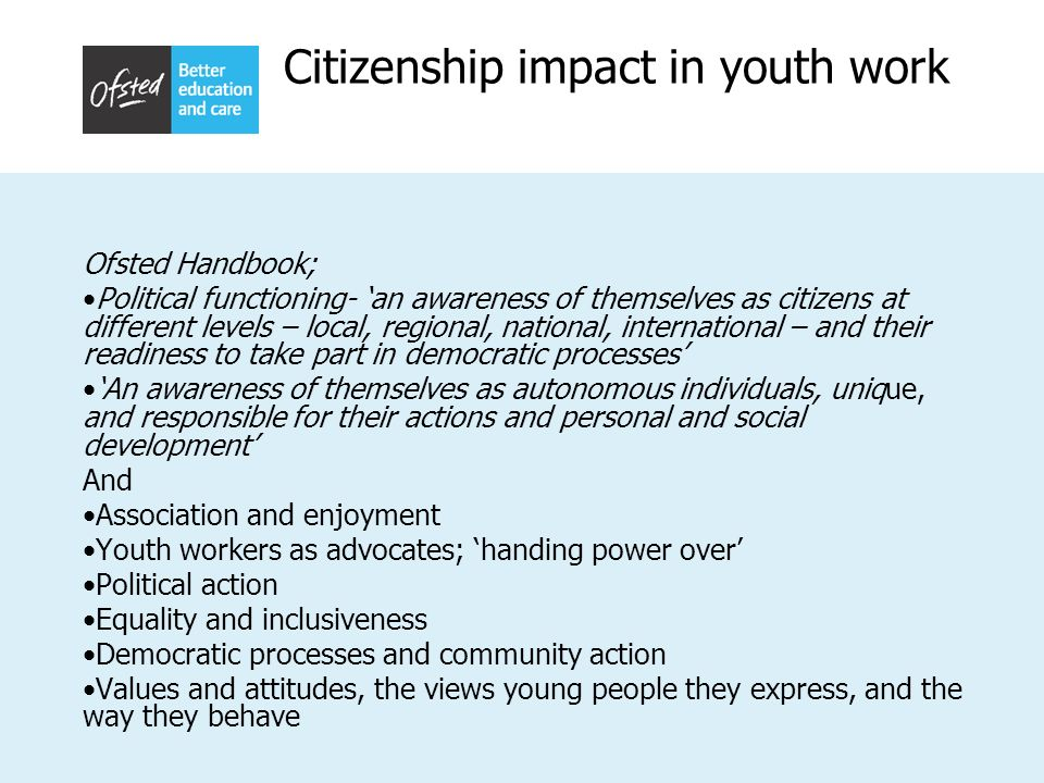 Citizenship impact in youth work