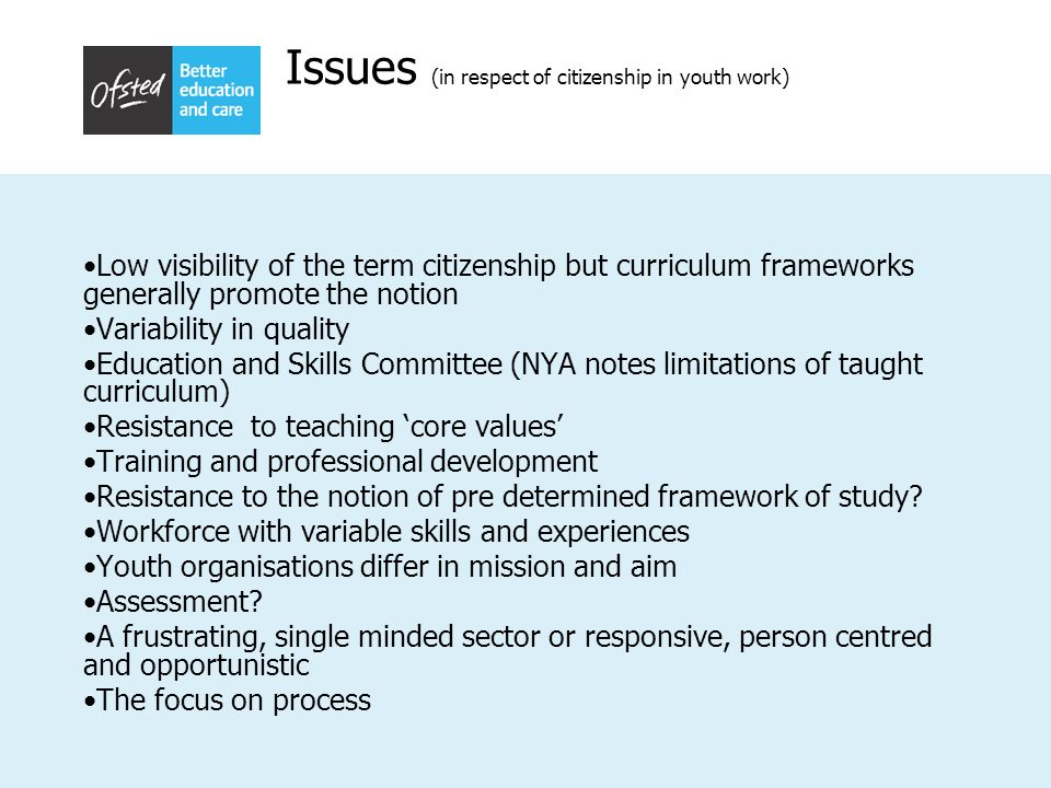 Issues (in respect of citizenship in youth work)