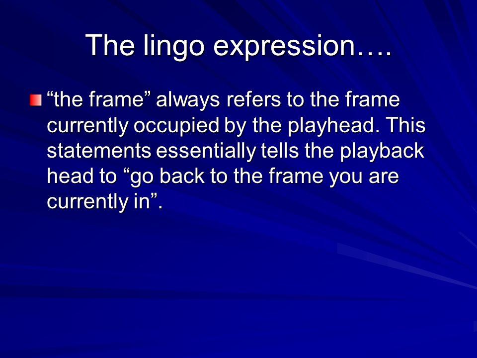 The lingo expression….