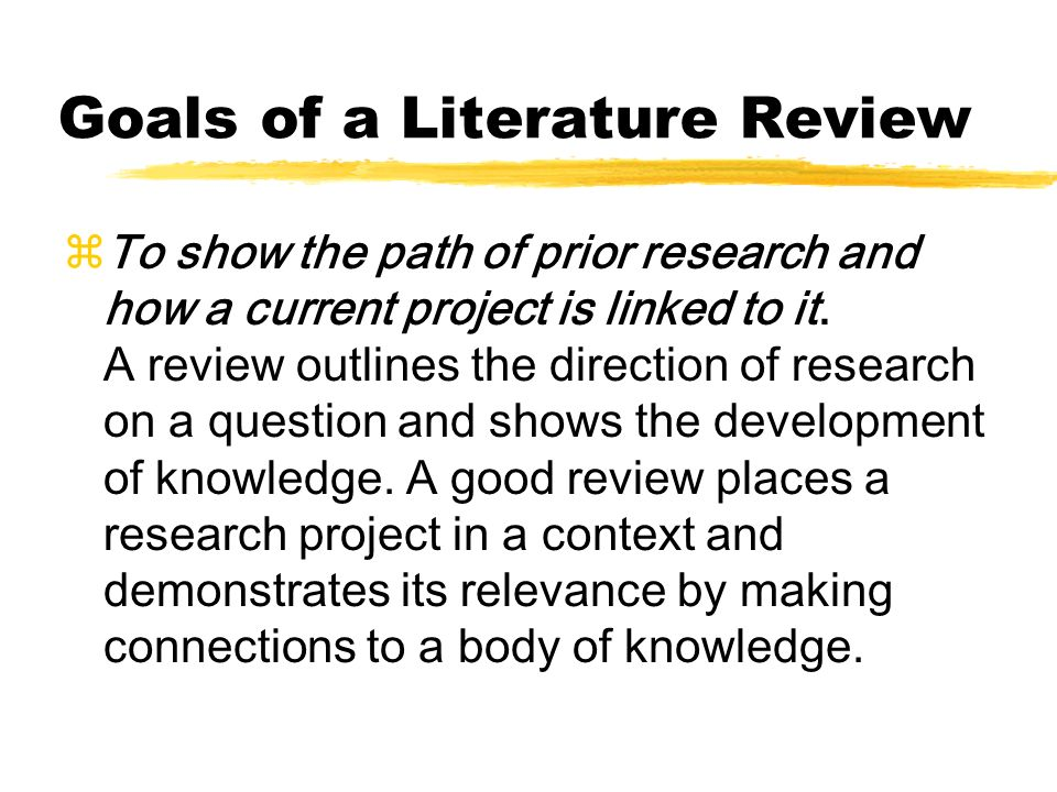 Relevance of literature review in research process