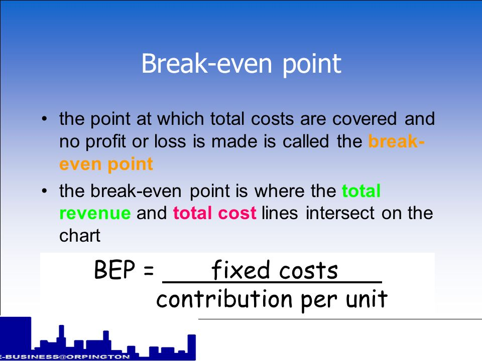 Break-even point BEP = fixed costs contribution per unit