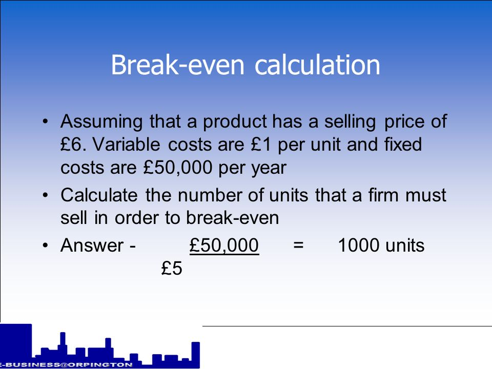 Break-even calculation