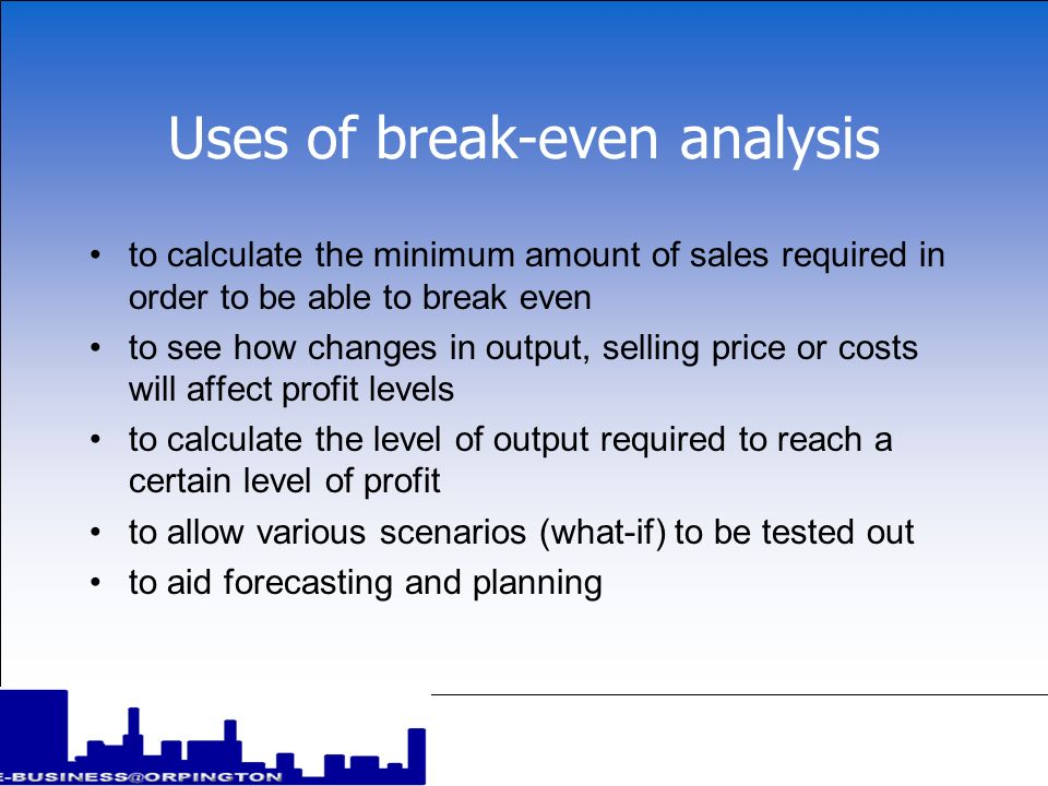 Uses of break-even analysis