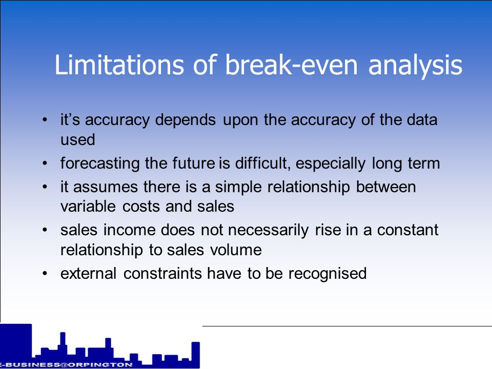Limitations of break-even analysis