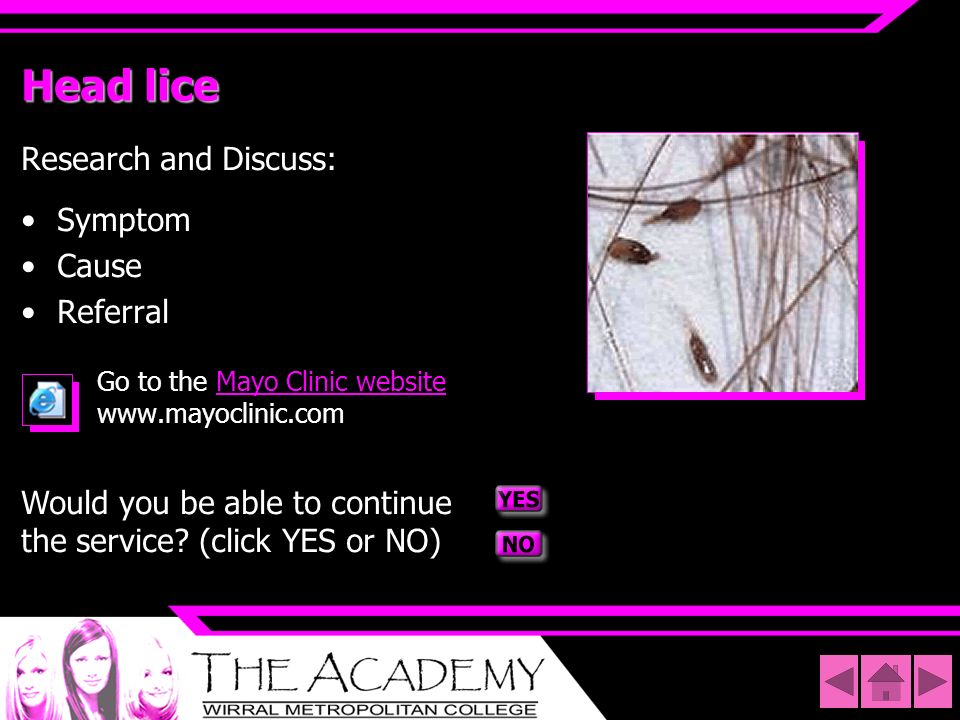 Head lice Research and Discuss: Symptom Cause Referral