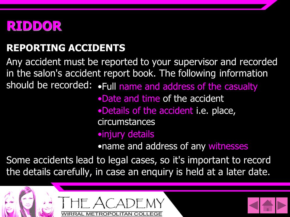 RIDDOR REPORTING ACCIDENTS