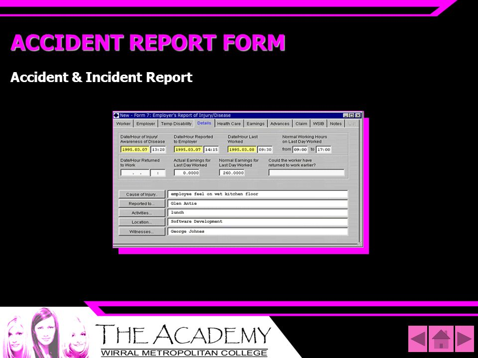 ACCIDENT REPORT FORM Accident & Incident Report