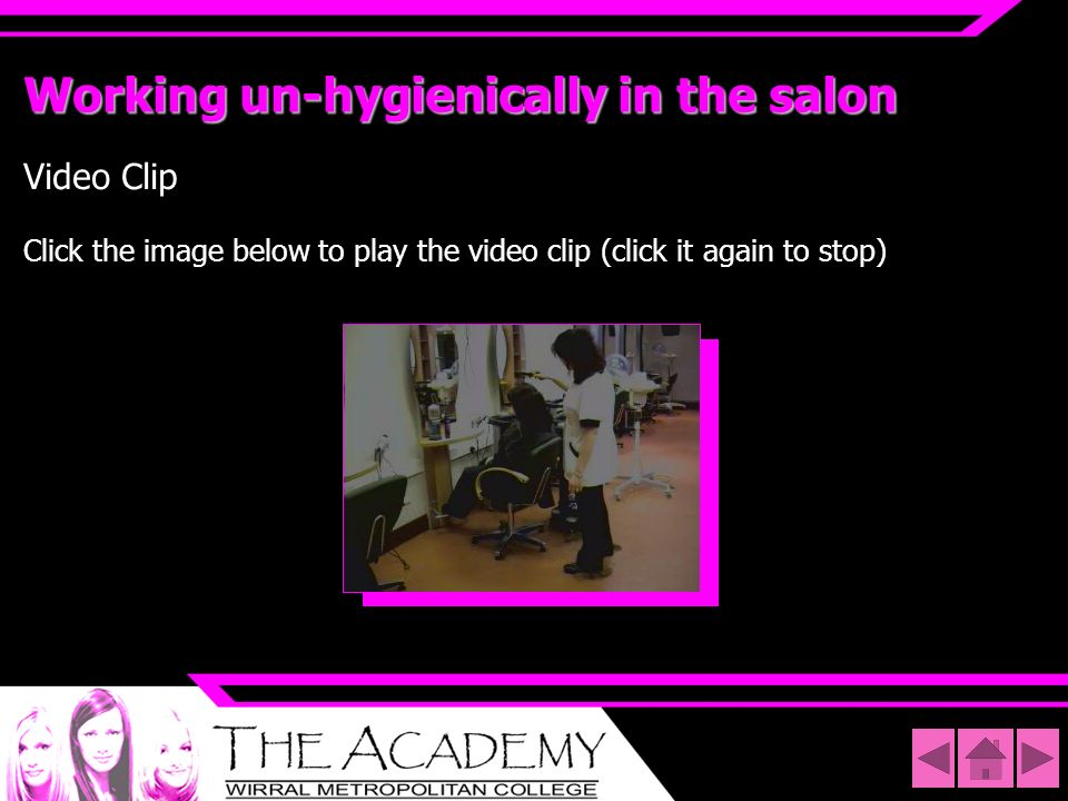Working un-hygienically in the salon