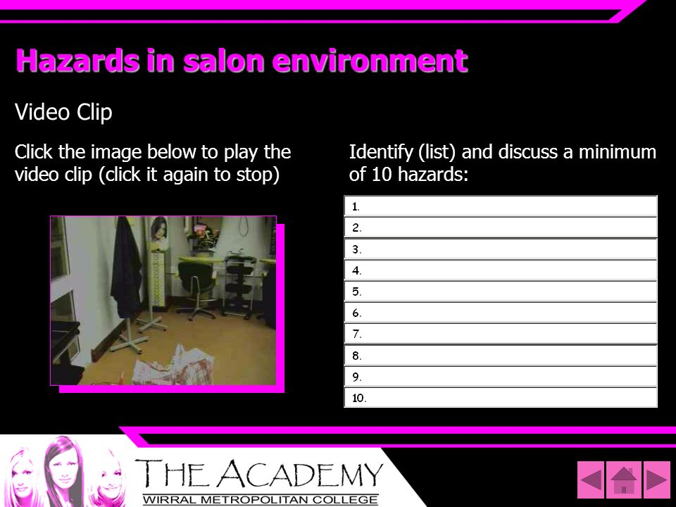 Hazards in salon environment