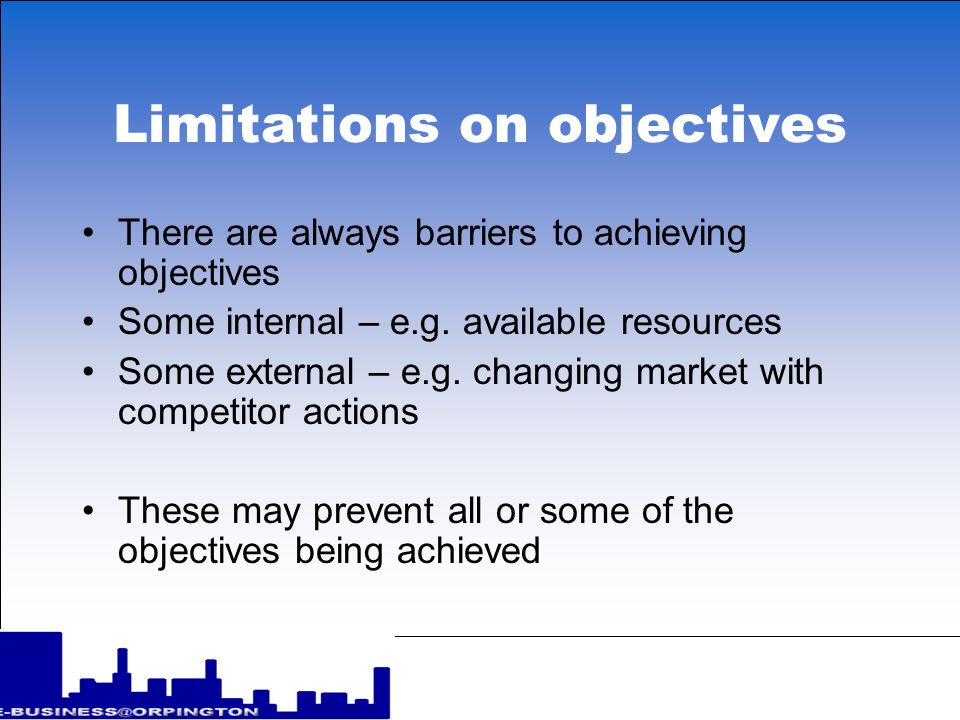 Limitations on objectives