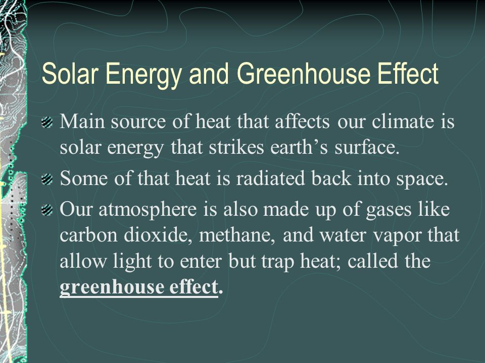 Solar Energy and Greenhouse Effect