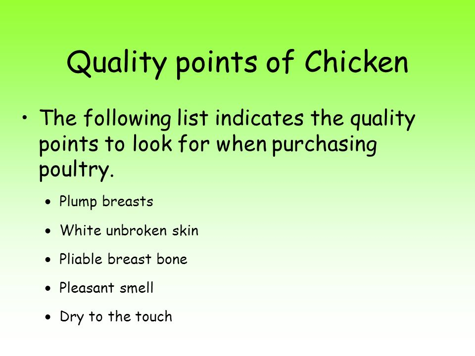 Quality points of Chicken