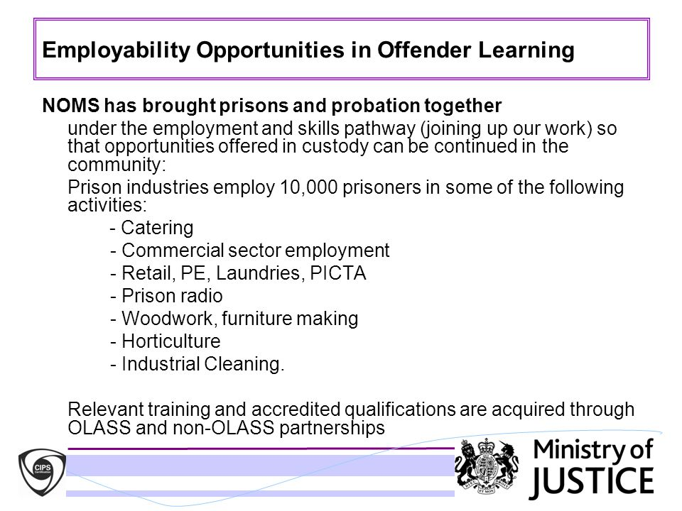 Employability Opportunities in Offender Learning