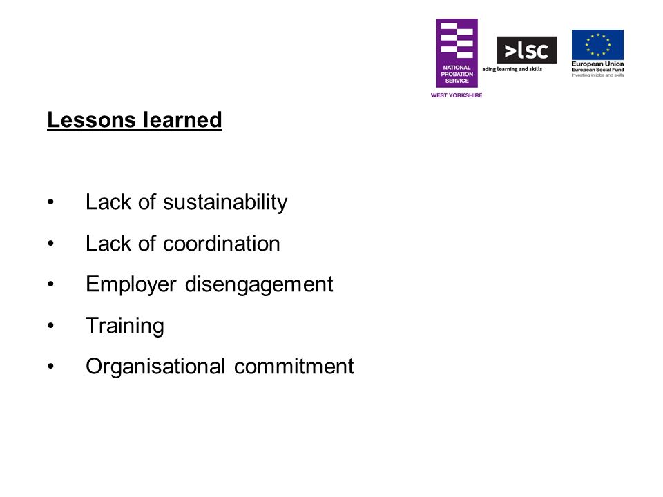 Lessons learned Lack of sustainability. Lack of coordination.