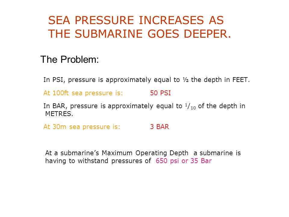 SEA PRESSURE INCREASES AS THE SUBMARINE GOES DEEPER.