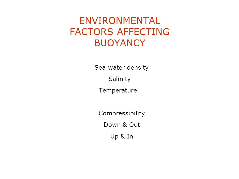 ENVIRONMENTAL FACTORS AFFECTING BUOYANCY