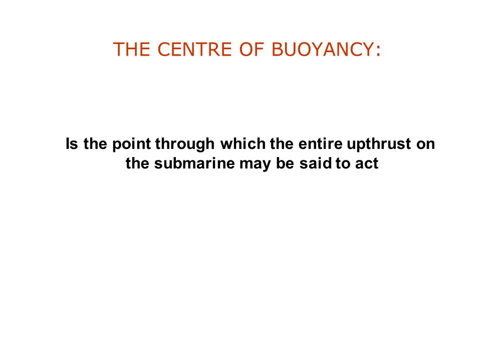 THE CENTRE OF BUOYANCY:
